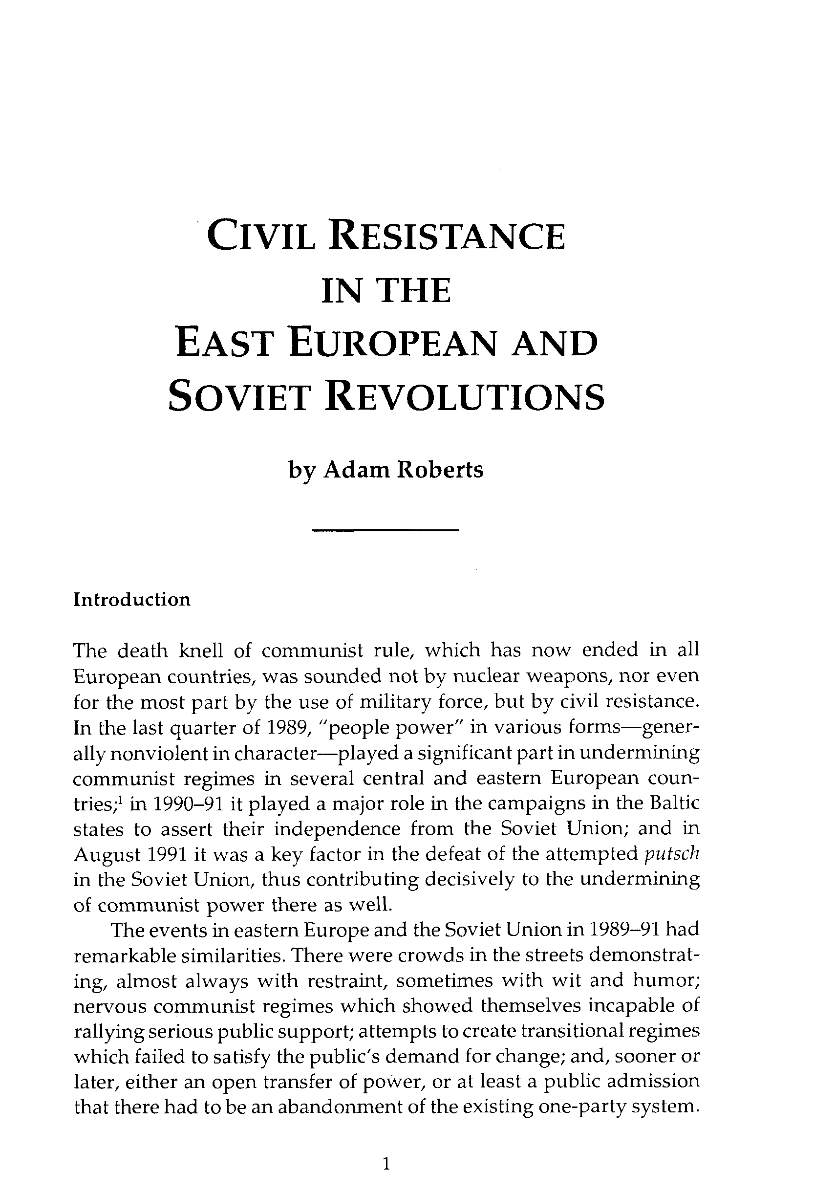 Civil Resistance in the East European and Soviet Revolutions