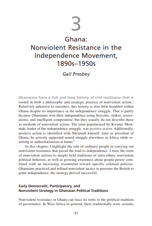 Ghana: Nonviolent Resistance in the Independence Movement, 1890s-1950s (Chapter 3 from 'Recovering Nonviolent History')