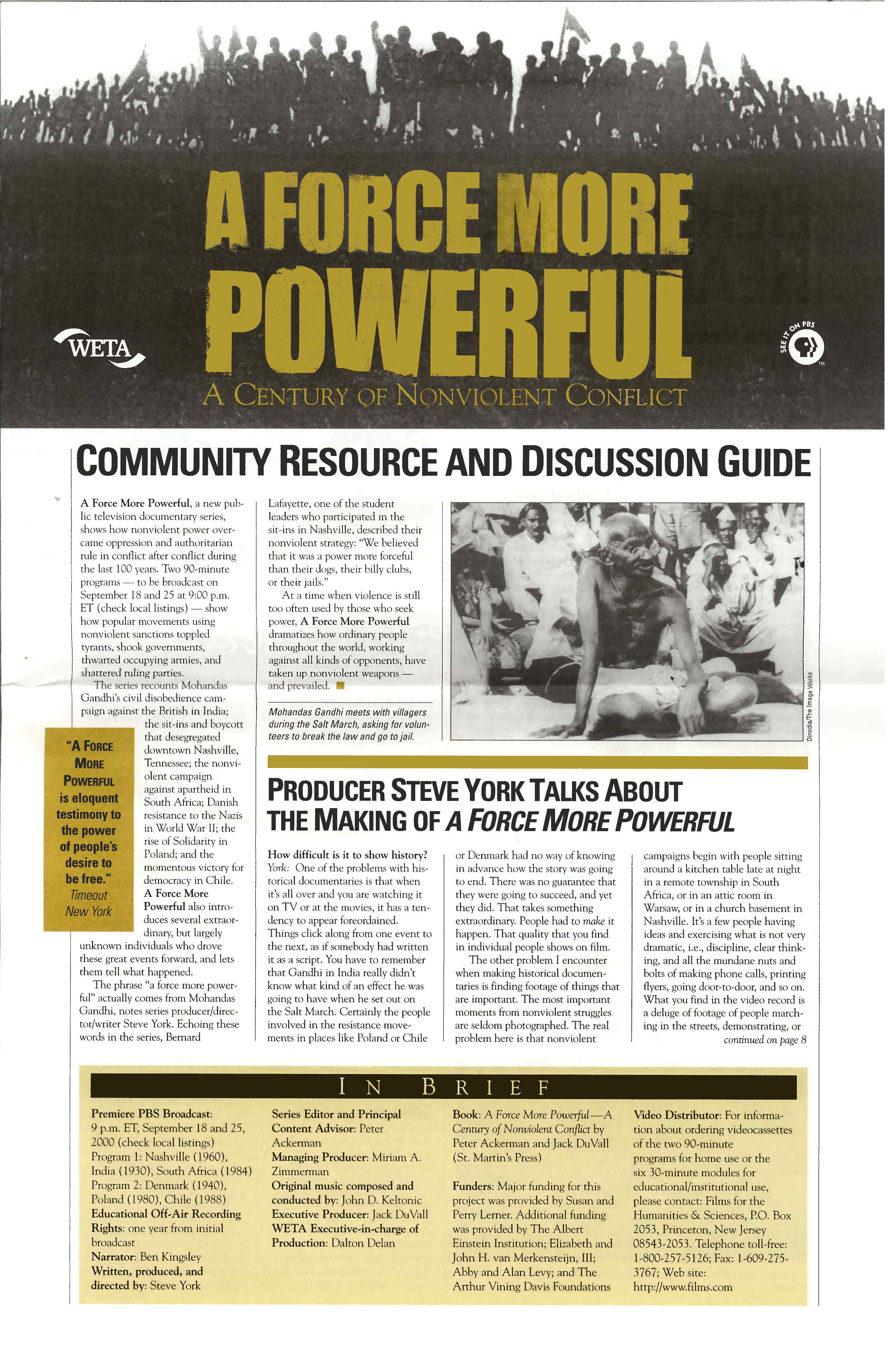 A Force More Powerful — Community Resource and Discussion Guide