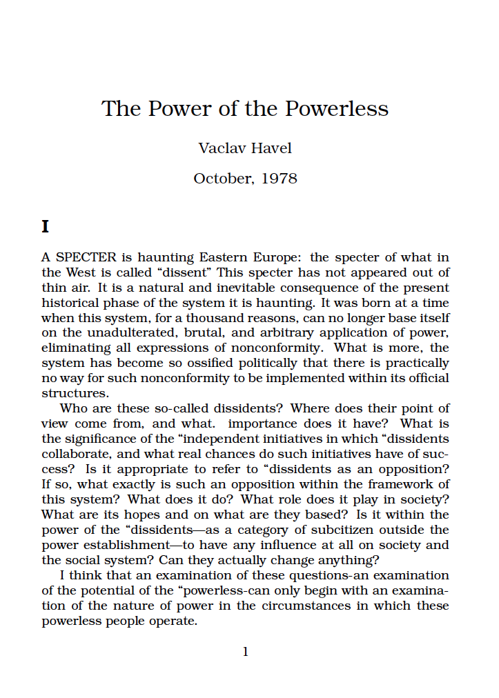 the power of the powerless essay icnc the power of the powerless essay