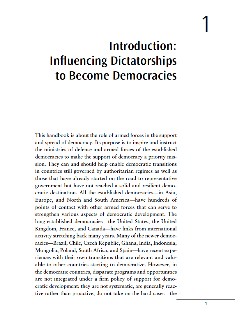 Military Engagement: Influencing Armed Forces Worldwide to Support Democratic Transitions: 1