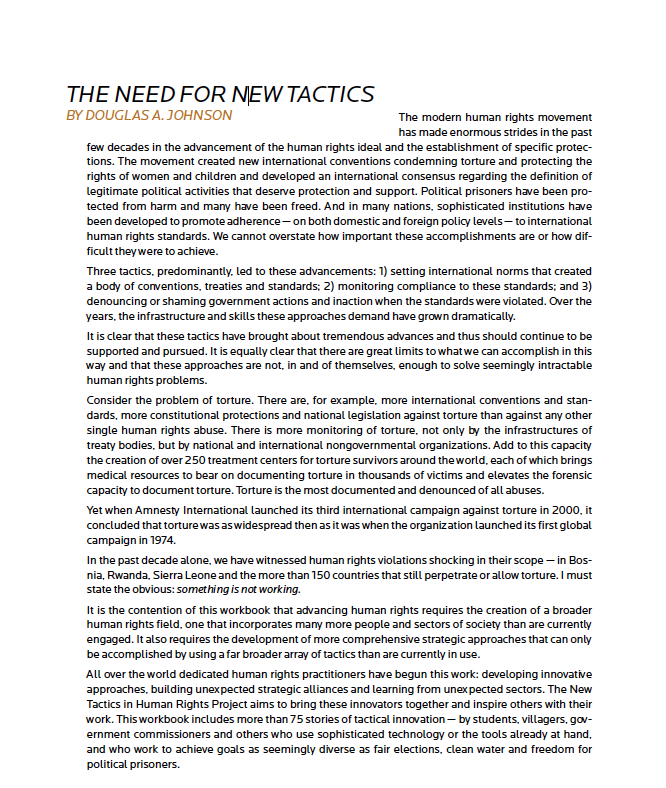 The Need for New Tactics