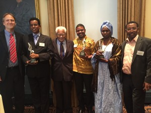 L-R: ICNC President Hardy Merriman; MUHURI Executive Director Hassan Abdille; Rev. James Lawson; HAKI Africa Executive Director Hussein Khalid; Vice President of IRA-Mauritanie Coumba Dada Kane; and Head of IRA-Europe Abidine Merzough.