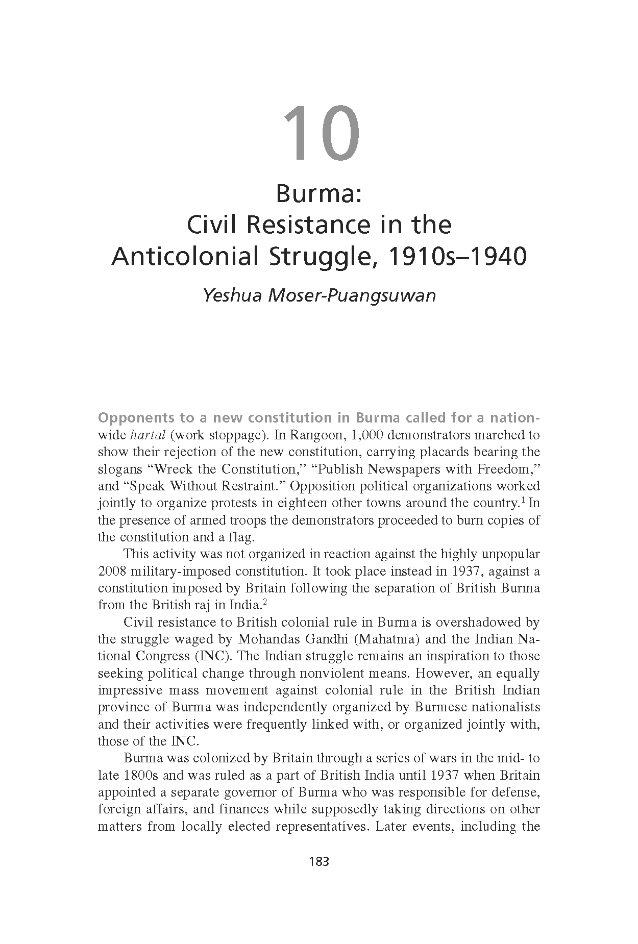 Burma: Civil Resistance in the Anticolonial Struggle, 1910s-1940 (Chapter 10 from 'Recovering Nonviolent History')