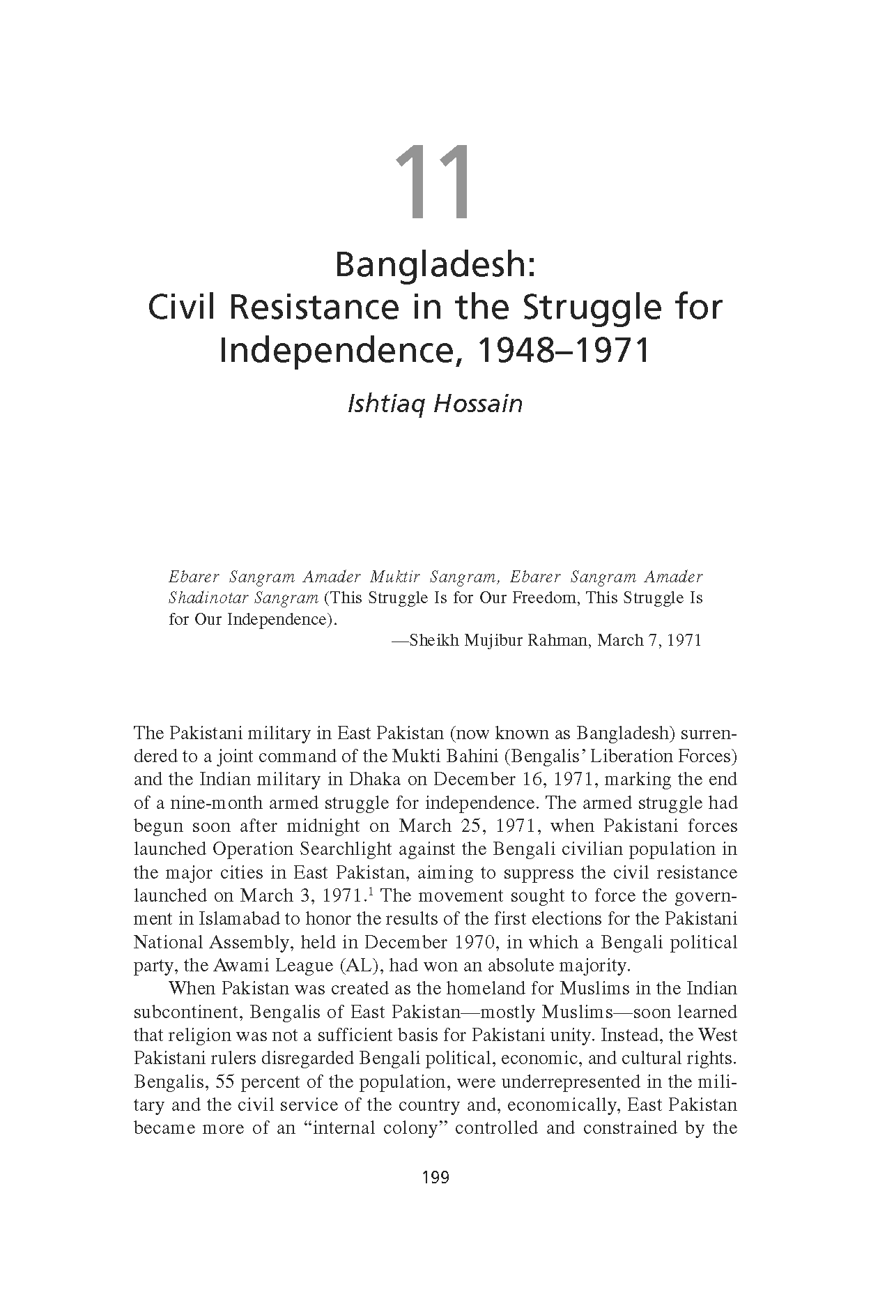 Bangladesh: Civil Resistance in the Struggle for Independence, 1948-1971 (Chapter 11 from 'Recovering Nonviolent History')