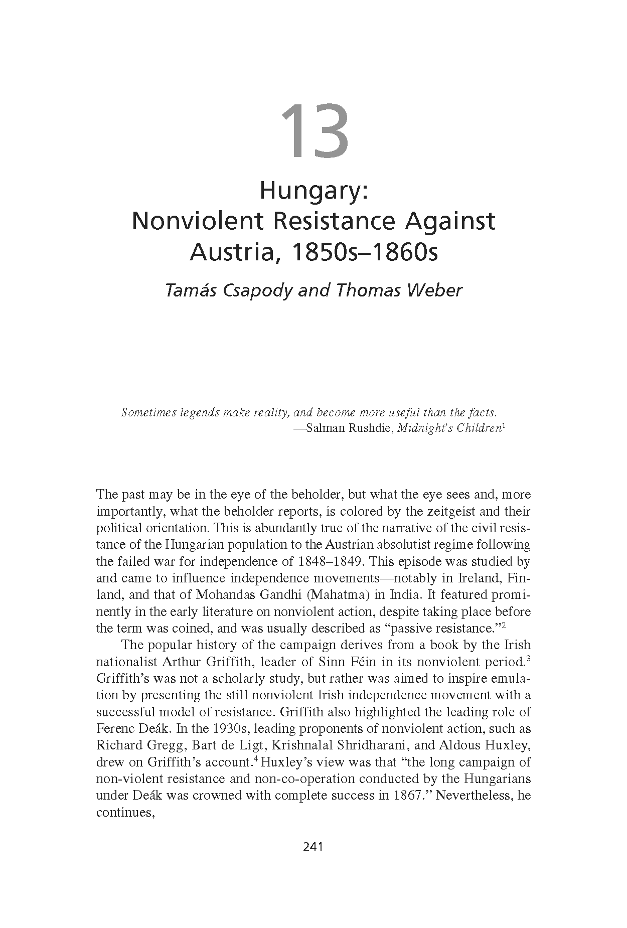 Hungary: Nonviolent Resistance Against Austria, 1850s-1860s (Chapter 13 from 'Recovering Nonviolent History')
