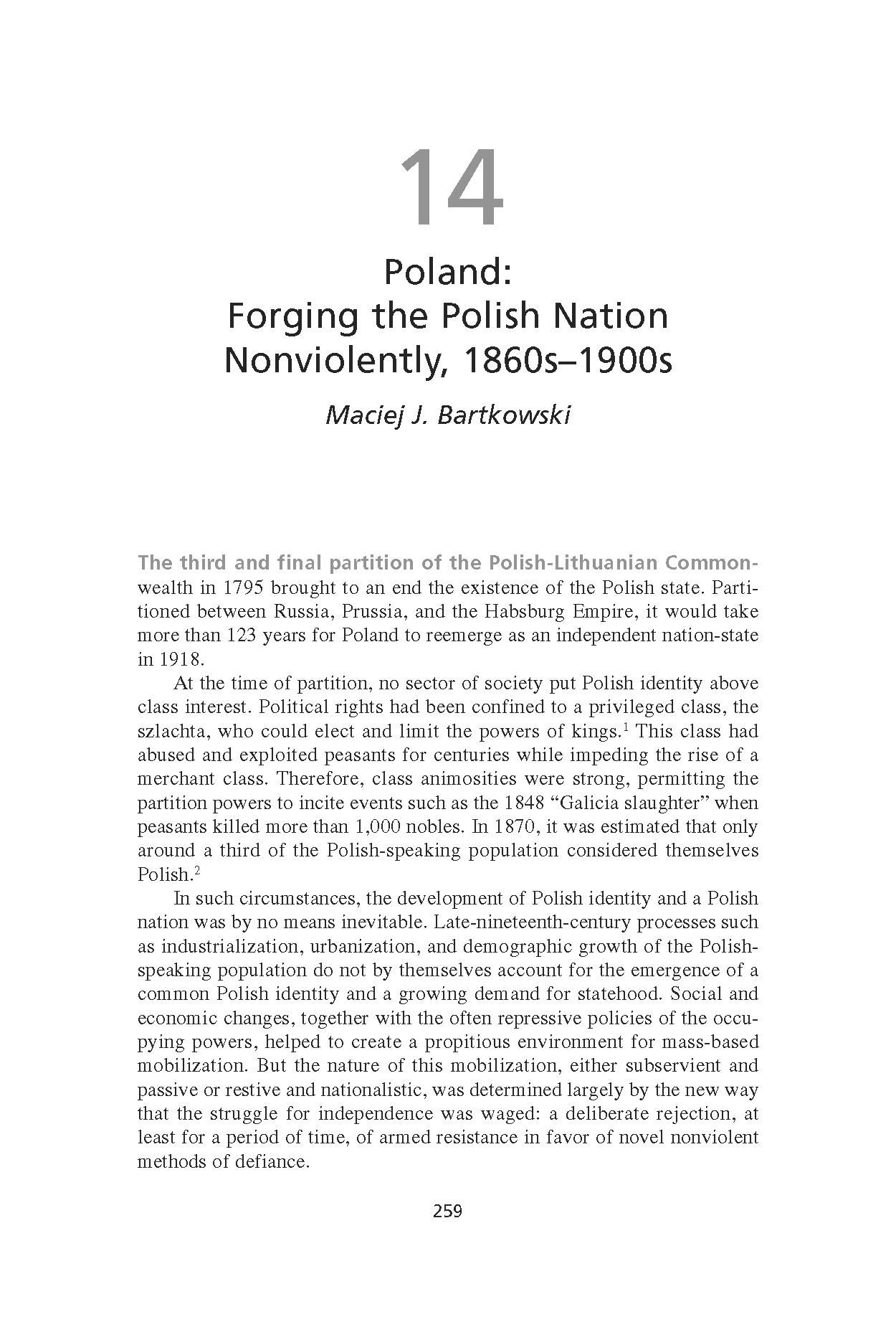 Poland: Forging the Polish Nation Nonviolently, 1860s-1900s (Chapter 14 from 'Recovering Nonviolent History')