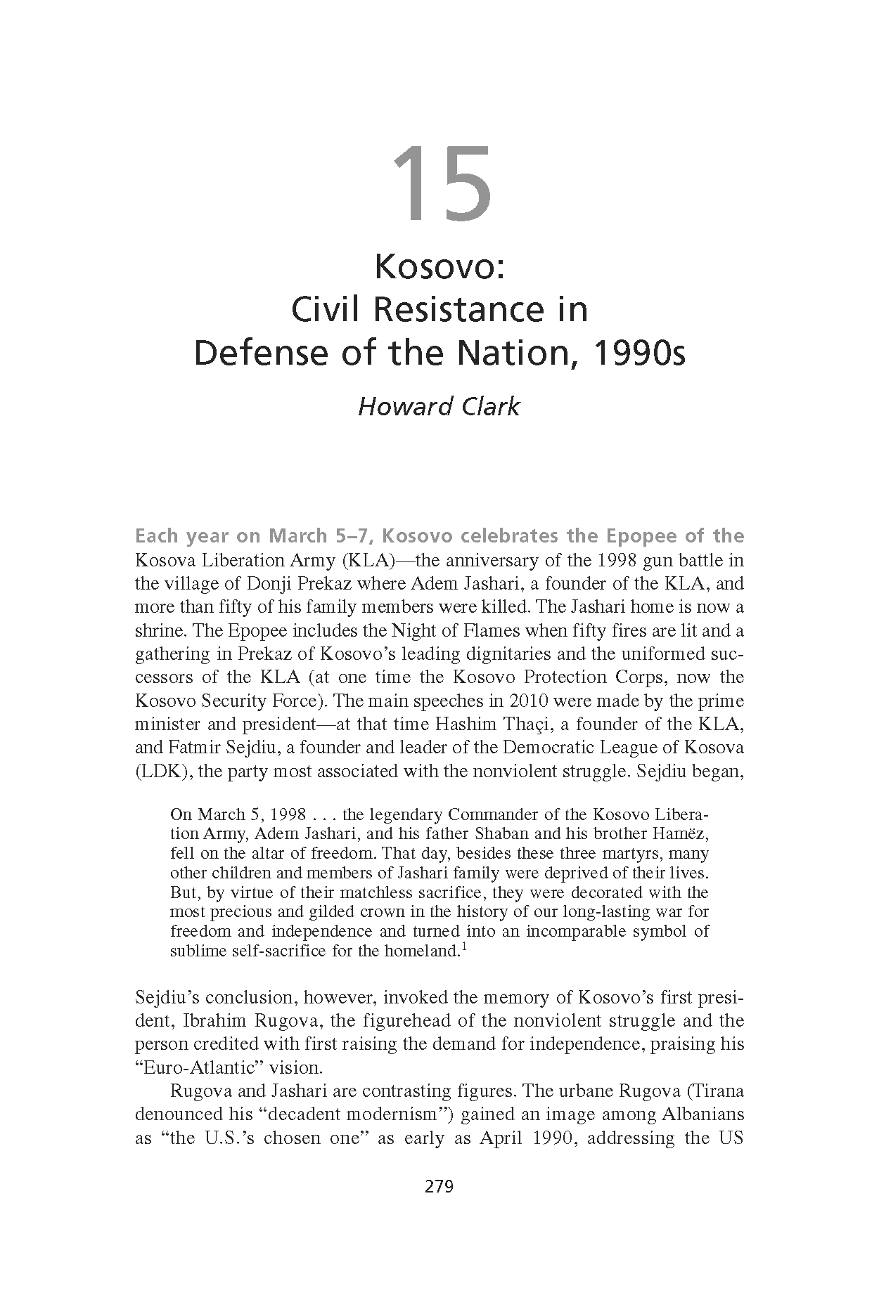 Kosovo: Civil Resistance in Defense of the Nation, 1990s (Chapter 15 from 'Recovering Nonviolent History')