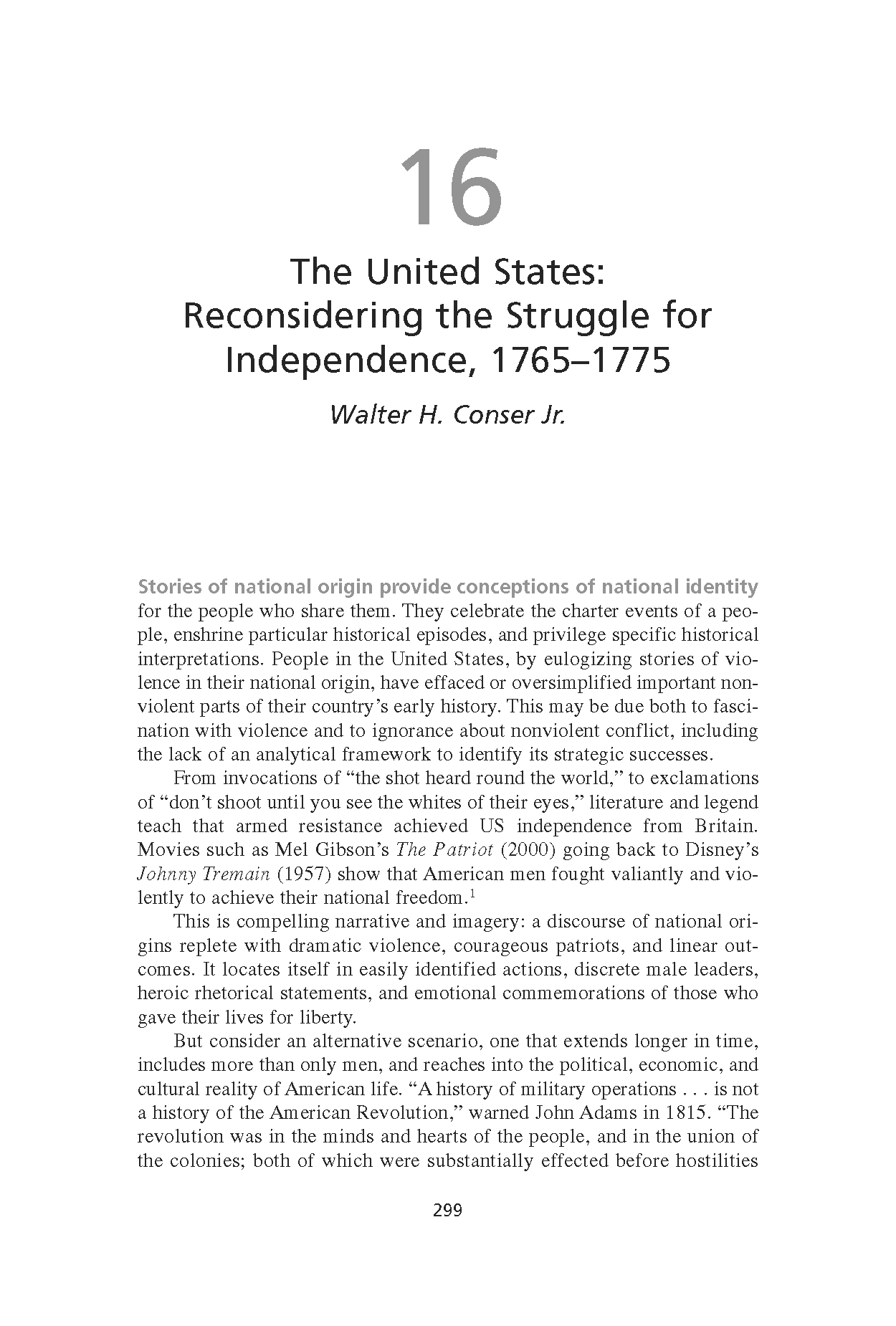 The United States: Reconsidering the Struggle for Independence, 1765-1775 (Chapter 16 from 'Recovering Nonviolent History')