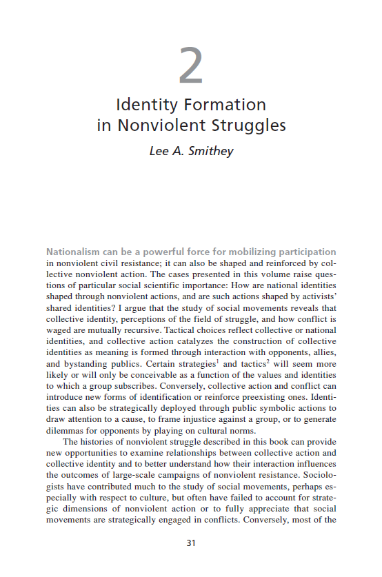 Identity Formation in Nonviolent Struggles (Chapter 2 from 'Recovering Nonviolent History')
