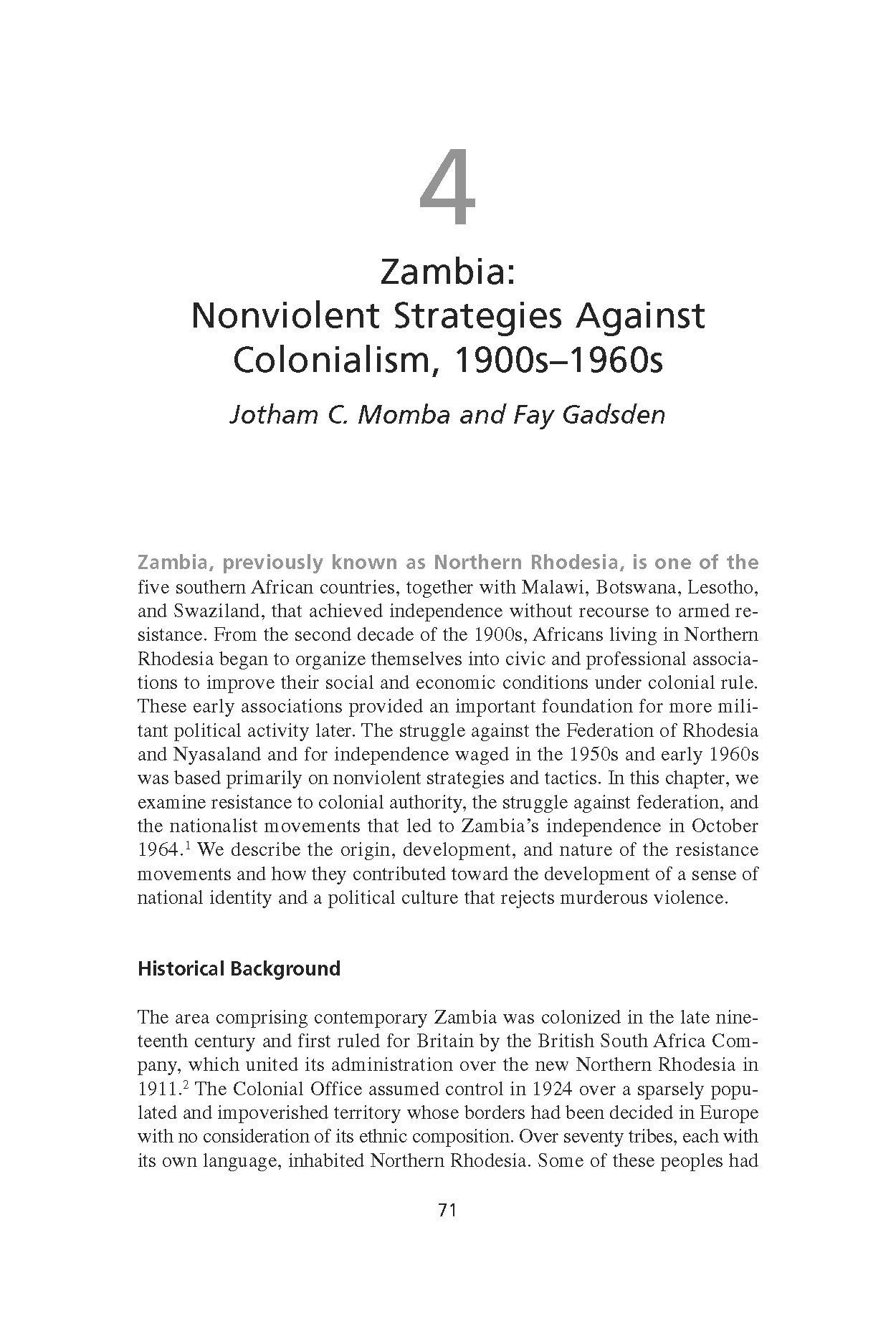 Zambia: Nonviolent Strategies Against Colonialism, 1900s-1960s (Chapter 4 from 'Recovering Nonviolent History')