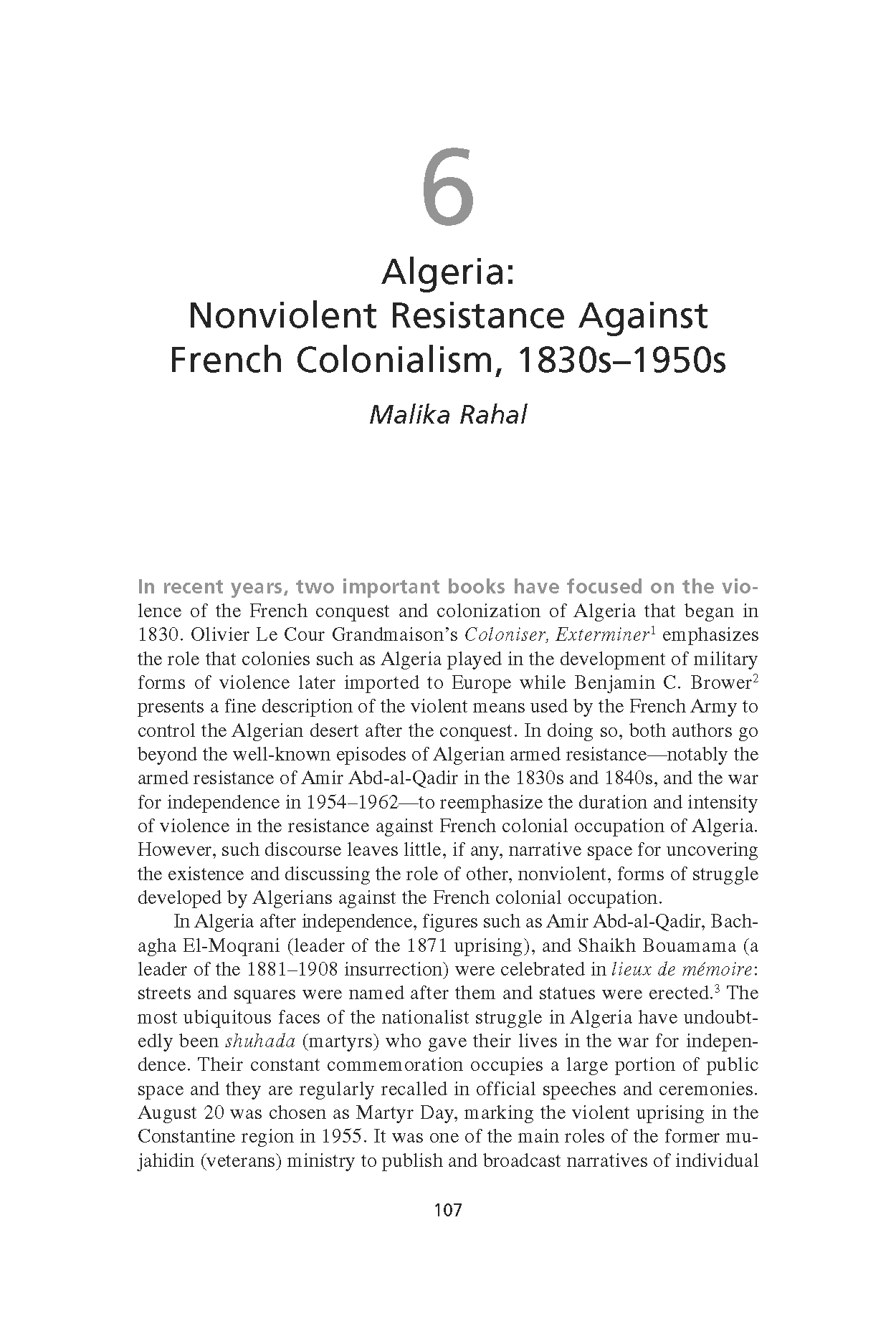 Algeria: Nonviolent Resistance Against French Colonialism, 1830s-1950s (Chapter 6 from 'Recovering Nonviolent History')