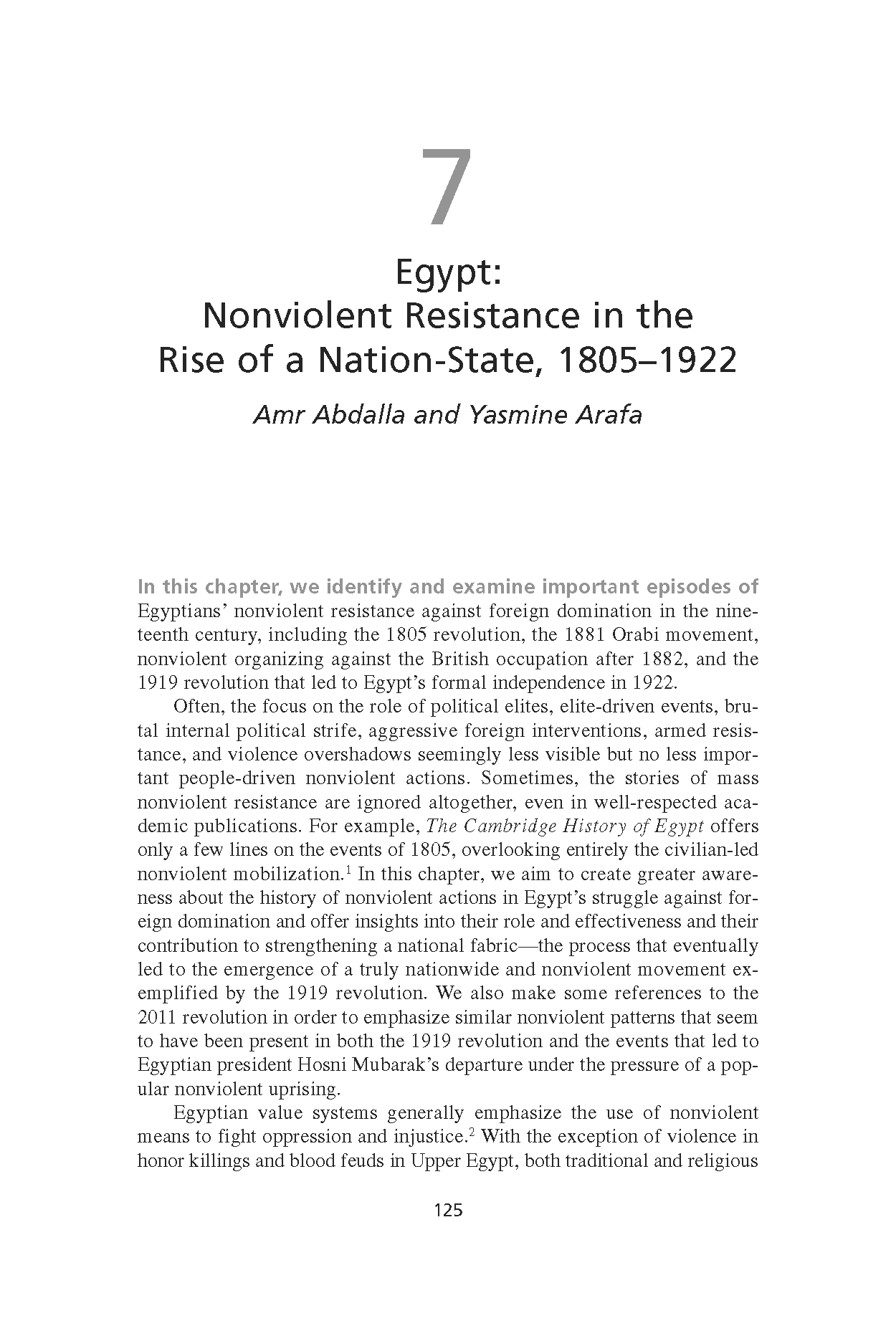 Egypt: Nonviolent Resistance in the Rise of a Nation-State, 1805-1922 (Chapter 7 from 'Recovering Nonviolent History')