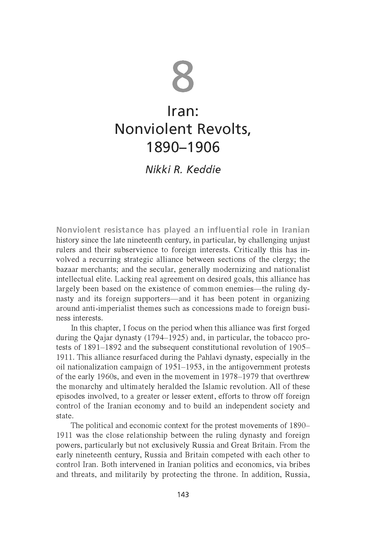 Iran: Nonviolent Revolts, 1890-1906 (Chapter 8 from 'Recovering Nonviolent History')