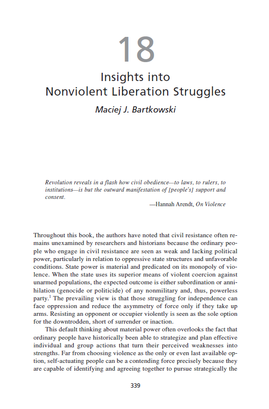 Insights into Nonviolent Liberation Struggles (Chapter 18 from 'Recovering Nonviolent History')