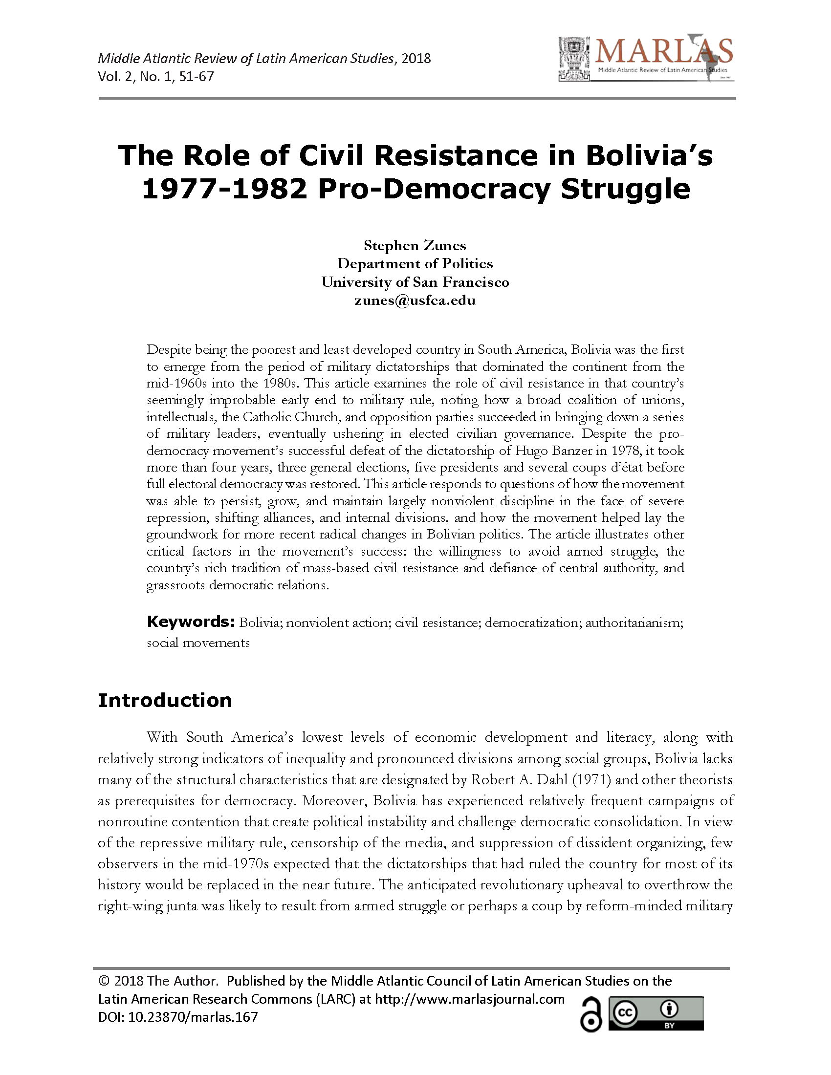 The Role of Civil Resistance in Bolivia's 1977-1982 Pro-Democracy Struggle